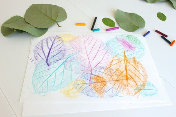 A kids' classic... leaf rubbing collages!