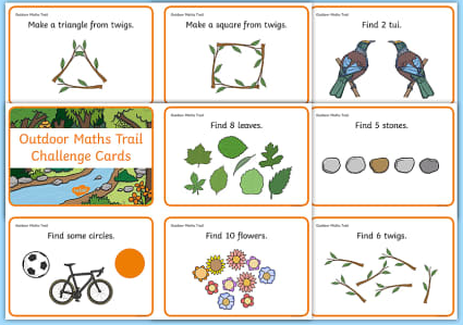Text Box: 1.	Make a triangle from twigs. 2.	Make a square from twigs. 3.	Find 2 tails. 4.	Find 8 different leaves/ green things. 5.	Find 5 stones. 6.	Look out for circles 7.	Find different flowers. 8.	Finds 6 twigs.